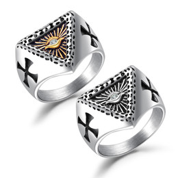 $enCountryForm.capitalKeyWord NZ - Vintage Hot Selling Mens Stainless Steel Christian Holy Cross Eye of God Rings Set Religious Jewelry Gifts for Him