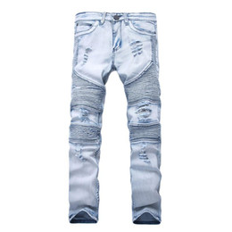 Wholesale men ripped jeans size 38 for sale – denim New Designer Mens Jeans Skinny With Slim Elastic Denim Fashion Bike Luxury Jeans Men Pants Ripped Hole Jean For Men Plus Size