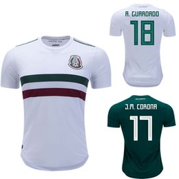 Mens Mexico 2018 Away Jersey J.M.Corona Chicharito A.Guardado M.Layon Mexico  18 19 Home Jersey 2018 World Cup Football Shirt Green White 294cf7f0bce23