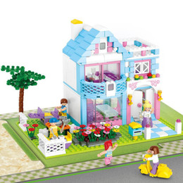 Electric Blocks Canada - 539Pcs Pink Dream Series Garden Villa Building Blocks Brick DIY Blocks Compatible Toys For Children Kids