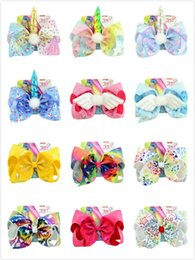 $enCountryForm.capitalKeyWord NZ - 8 inchs JOJO bow series rainbow stars love unicorns printing giant bow girl hair clips children's bobby pin with card 14 designs