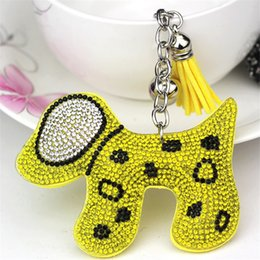 Animal Handmade Canada - Handmade Rhinestone Leather Dog Keychain Animal Car Key Chain Keyring Women Bag Charm Pendant Accessories porte clef 6C2360
