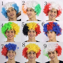 Discount football fans wigs CURLY WIGS Russia soccer fans wig Football Fans Wig National Flag Color Cap WIGS World Cup HIGH QUALITY Carnival Day SYN