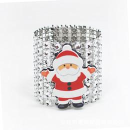 Santa Rings Australia - 100Pcs Lot Plastic Rhinestone Wrap Christmas Santa Claus Napkin Ring Napkin Chair Buckle Hotel Wedding Supplies Home Decoration