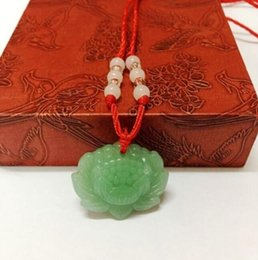 Necklaces Pendants Australia - Natural Green Jade Lotus Pendant Necklace Fashion Lucky Charm New