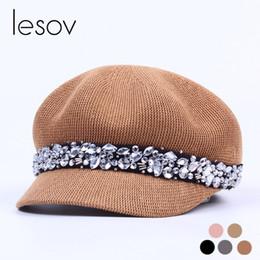 Lesov Vintage Rhinestone Algodão Malha Chapéus Octogonais Mulheres Chapéu  de Verão Ao Ar Livre Viseira Cápsulas 4bca1c6c870
