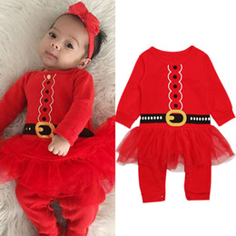 3f201a98d30 Christmas girl clothes baby Xmas lace rompers Spring Autumn cotton infant  jumpsuit Boutique kid Climbing clothes Z0005