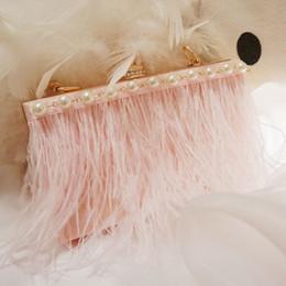 $enCountryForm.capitalKeyWord Australia - 2019 Luxury Pink Feather Evening Bag Beaded Pearls Chain Pary Formal Women Handbags High Quality Hot Sale Shoulder Bag Crossbody Flap Bag