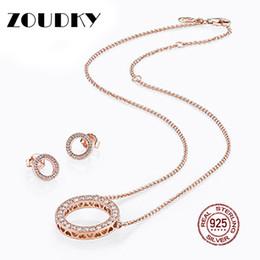 Diy Stud Bracelet NZ - ZOUDKY 100% 925 Sterling Silver Earrings Rose Gold Clear CZ suit Ear Studs charm Beads Fit Bracelet DIY Wholesale factory