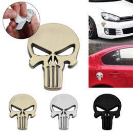 Car Emblem Glue Australia - 1 Pcs 3D Metal Emblem Badge Decal Sticker Waterproof The Punisher Skull Sticker Car Styling wholesale