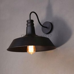 China AC110-230V Classical Vintage Industrial D26cm gooseneck Wall lamps Black white Light Kitchen Restaurant modern wall sconces arandela black suppliers