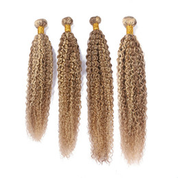 Piano Hair Australia - Kinky Curly #27 613 Highlight Mixed Piano Color Virgin Brazilian Human Hair Bundles Double Wefts 4Pcs Piano Mix Color Human Hair Extensions