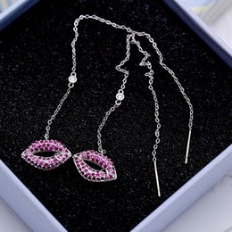Wholesale SWOUR New Fashion Jewelry S925 Sliver Needle Long Line Tassel Red Lip Design Cubic Zircon Dangle Earrings For Women S203