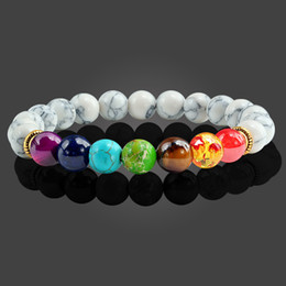 $enCountryForm.capitalKeyWord Australia - Fashion Lava Stone Beads Bracelets for Women Men 7 Chakra Bracelet Healing Balance Beads Buddha Prayer Reiki Bangle Jewelry Gift