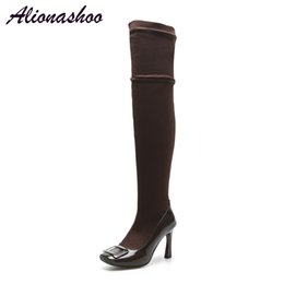 sexy thigh high rubber boots NZ - Alionashoo 2018 New Shoes Women Boots Black Over the Knee Boots Sexy Female Autumn Winter lady Thigh High Large Size 34-46