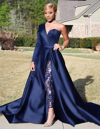 plus formal jumpsuits Canada - Dark Navy Two Pieces Evening Dresses One Shoulder Long Sleeve Side Split Sequined Prom Gowns Pants Jumpsuits A Line Plus Size Formal Dress