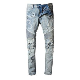 DistresseD cotton online shopping - Fashion Mens Ripped Biker Jeans Brand Designer Distressed Vintage Washed Denim Pants With Hole Patch Pleated Robins Jeans For Men
