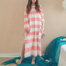 Cozy Shirt NZ - Autumn New Women Sleepwear Long Sleeve O-neck Stripe Casual Nightgowns Cotton Breathable Loose Pockets Cozy Long Sleepdress
