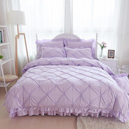 Discount ruffle bedding - 100% Coon Purple Princess Bedding Set Luxury 4 6pcs Pinch Pleat Quilt Cover Ruffle Bedspreads Bed Skirt Pillowcases