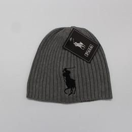 POLO beanies small horse embroidery knitted autumn winter warm hats men  women couple outdoor skull cap gorro black white grey 44c0da5183c3