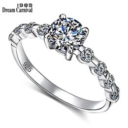ring designs for girls Australia - DreamCarnival 1989 New Wedding Party White Cubic Zircon Jewelry Design Silver Ring for Women Girl Friend Anillos Mujer SJ22546