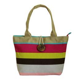 China Luxury Handbags Women Bags Designer Large Canvas Colorful Striped Fashionable Female Handbag Shopping Shoulder Bag Female Hand Tote Bag supplier striped cotton canvas tote bags suppliers