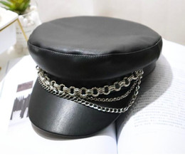 a9b8a6979b406 Punk style black chain army hat woman, autumn and winter new leather flat  cap cap black newsboy hat