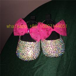 Crystal Diamond Fabrics Australia - Dollbling AB color crystal Brilliant Dazzling DIY custom Fabulous baby shoes Christening diamond luxury lolita 0-1 infant shoes