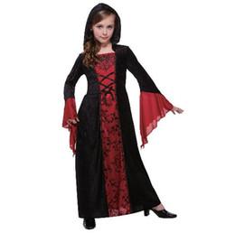 2018 New style crianças Cosplay Gothic Madame Vampiro Partido Manto roupas Meninos e meninas de Dança roupas Conjoined