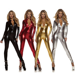 ingrosso xxl donne sexy pieno-S XL Adulto Donna Bambini Metallic Lycra Spandex Cosplay Halloween Party Full Body Zentai Tuta Tuta Completa Unitard Tuta