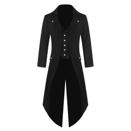 Wholesale green frock coat for sale – winter nEW Men s Outwear Steampunk Vintage Tailcoat winter Jacket Gothic Victorian Frock Coat Uniform Costume