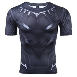 quick dry shirts for men UK - Black Panther 3D Printed T-shirts Men Compression Shirt Captain America Short Sleeve Cosplay Halloween Costume For Men Tops Male