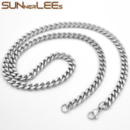 cuban chain 7mm Australia - Fashion Jewelry Silver Color 5mm 6mm 7mm Stainless Steel Necklace Curb Cuban Link Chain For Mens Womens SC14 N