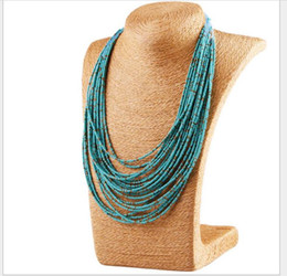 multilayer chains UK - 5pcs Hot Fashion women's Europe and America Personality Bohemia necklace Multilayer rice bead necklace. women necklace 412