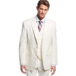 $enCountryForm.capitalKeyWord NZ - 2018 Custom Made Groom Men Suit Tuxedos Notch Lapel Best Men's Suit Slim Fit Casual Cream Wedding Suits For Beach Summer (Jacket+Pants+Vest)