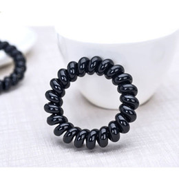$enCountryForm.capitalKeyWord Australia - Black Telephone Line Hair Hair rope Fashionable Gum Elastic Ties Wear Hair Ring Spring Rubber Band Accessory Maker Tools