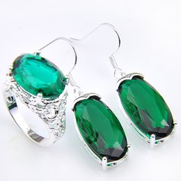 Newest fashion brand silver plated wedding bridal jewelry set gemstone rings earrings set nice Green Crystal jewelry sets nice plate sets promotion & Discount Nice Plate Sets | 2018 Nice Plate Sets on Sale at DHgate.com