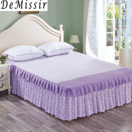 Discount pink floral full size bedding - DeMissir Bed Skirt 2 Layers Ruffles Floral PrintTwin Full Queel King Size Princess saia cama Skirted Bedspread Bedskirt