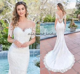 China 2018 Gorgeous Mermaid Wedding Dresses Scoop Neck Short Sleeves Full Lace Appliques Beads Illusion Sheer Open Back Beach Formal Bridal Gowns suppliers
