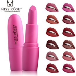miss rose long lasting lipstick UK - Miss Rose Brand Matte Long lasting Lipstick 22Colors Waterproof Nutritious Easy to wear Lipstick Natural Lips Makeup EMS DHL 7301-026B