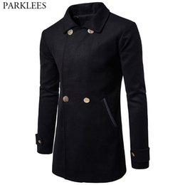3b6dc5bf89c46 Solid Color Trench Coat Men 2017 Winter Men s Long Trench Coats Casual  Double Breasted Mens Pea Coat Jacket Male Windbreaker 2XL