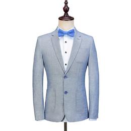 Plus Size Linen Suit NZ - 2018 New Arrivals Custom Made Blue Linen Men Suit Slim Fit Summer Beach Handsome Wedding Mens Blazer Style Prom Party Jacket+Pant 2 Pieces