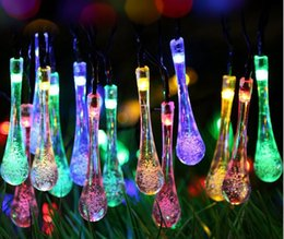 solar water drop lamp series 30led outdoor christmas lights string led lantern festival light wish source