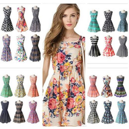 plus size dresses cheap wholesale Australia - 2018 prom 19 designs Women Casual flower Dresses Cheap Dress Fashion Sleeveless Summer fashion Casual Dresses for womens Plus Size XL