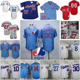 Wholesale Custom Montreal Expos Baseball Jersey Any Name Number Light Blue White Pullover Gray Red Mens Womens Youth Kids S XL