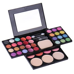 Discount eyeshadow palette mirror - Makeup Palette 39 Colors Eyeshadow Include Blusher Foundation Powder And Lipstick Eye Shadow Make Up Cosmetics With Brus