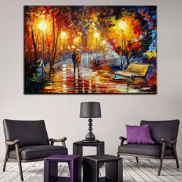 pictures park NZ - Canvas Pictures Frame HD Prints Wall Art Home Decor 1 Piece Pcs Couple Walking In The Park Paintings Abstract Night Scene Poster