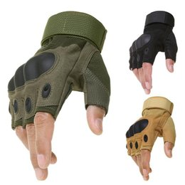 Discount army gloves - High Quality Fingerless Gloves Fashion Army Shooting Paintball Airsoft Bicycle Motorcross Hard Knuckle Half Finger Glove