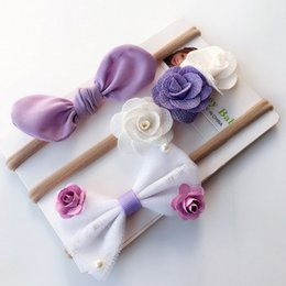 Rabbit Hair Ponytail Australia - 3Pcs Set Baby Girl Headband Nylon Hair Bows Children Hair Band Rabbit Ears Hair Accessories Wholesale