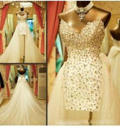 $enCountryForm.capitalKeyWord NZ - Luxury Crystal Beaded Beach Wedding Dresses with Detachable Train Sweetheart Rhinestones Bow Tulle Short Bridal Gowns Custom Made